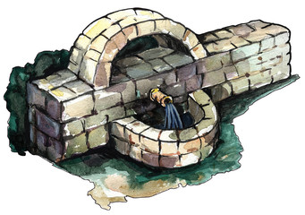 Path watercolor of an old stone fountain