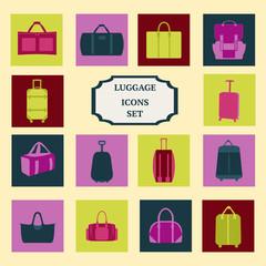 vector set of flat luggage-icons-set