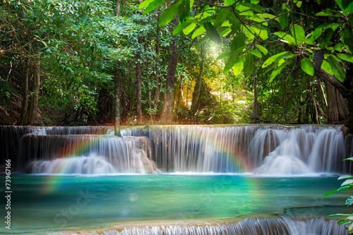 Leinwanddruck Bild Thailand waterfall in Kanchanaburi (Huay Mae Kamin)