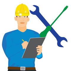 illustration of Engineer checking with clipboard vector isolated