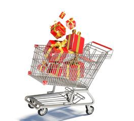 Carrello con pacchi regalo