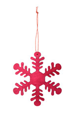 Wooden snowflake isolated on white background