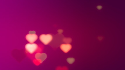 Hearts on purple background. 3D rendered
