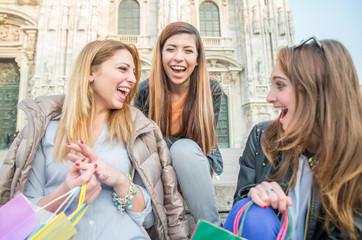 Three young beautiful girls laughing