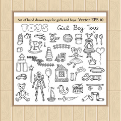 Vector set of hand drawn toys for boys and girls