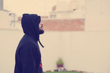 Hood hipster with vintage filter image