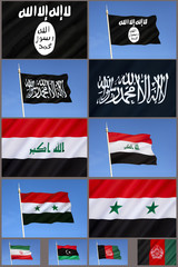 Flags of Al-Qaeda, Islamic State, and Middle East