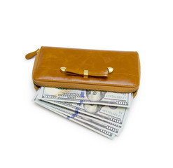 Purse with hundred dollar banknote isolated on white background