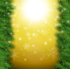 Christmas background, pine tree with lights and snow