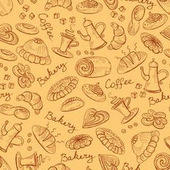 Vector pattern with coffee cup and bread bakery products