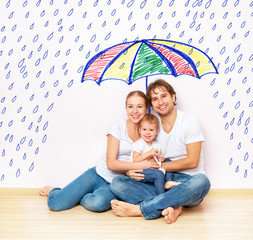 concept: protection of family. family took refuge under umbrella