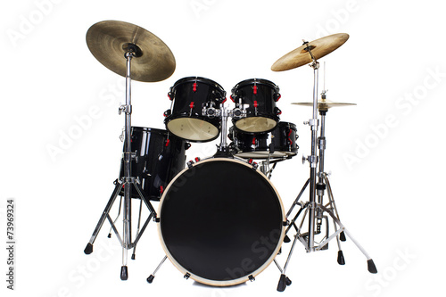 canvas print picture Drum Kit Isolated on White Background