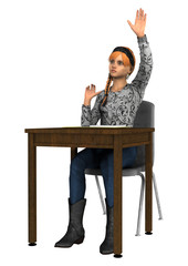 Teen Girl Raising Her Hand