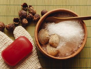 Spa Treatment Sea Salt, Soap Bar And Loofah