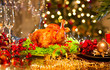 canvas print picture - Christmas dinner. Holiday decorated table with roasted turkey