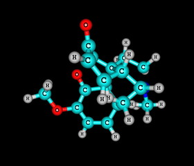 Oxycodone molecule isolated on black