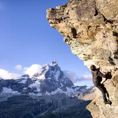 Climber with Matterhorn - Stock Image