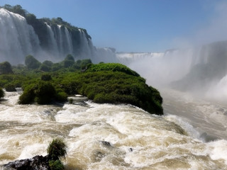 Brazilian side of the famous Iguazu falls. South America.