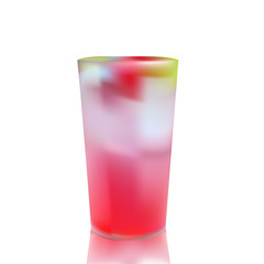 tall glass of cold juice with multi fruit and ice