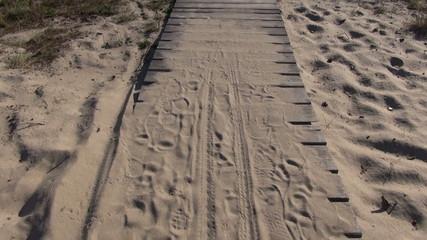 wooden path on sea resort coast