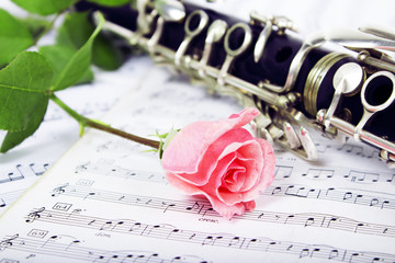 Rose with Musical notes and clarinet