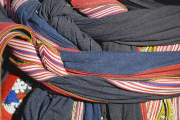 Detail of Black Miao traditional women's costume, Sapa, Vietnam.