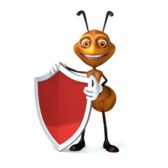 Ant with shield