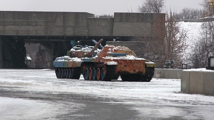 Symbols of war . Multi-colored tanks. Museum  of WW2 in Kiev