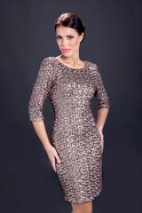 elegant sexy woman in skin tight dress