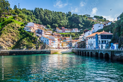 Fotobehang Poort Cudillero, fishing village in Asturias (Spain)