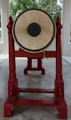 big drum in a Buddhist temple used for telling midday meal
