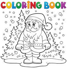 Coloring book Santa Claus in snow 3
