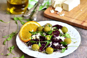 Beetroot salad with brynza,olives and rucola.