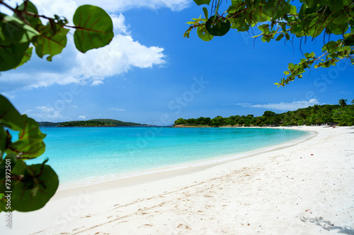 canvas print picture Beautiful tropical beach at Caribbean