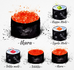 Sushi watercolor Maki