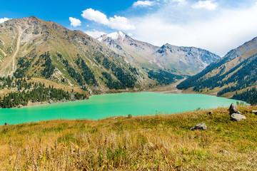 Spectacular scenic Big Almaty Lake ,Tien Shan Mountains