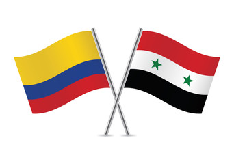 Syrian and Colombian flags. Vector illustration.