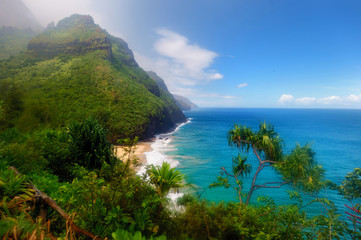 Kalalau trail in Kauai, Hawaii