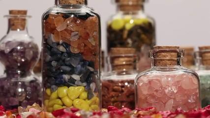 Rotating mini gemstone bottles