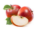 Fototapety Red Jonathan apples and quarter slice isolated on white
