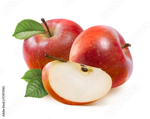 Red Jonathan apples and quarter slice isolated on white © kovaleva_ka