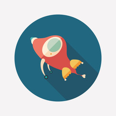 Retro rocket flat round icon with long shadows.