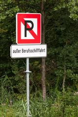 Verkehrszeichen Parken verboten für Schiffe