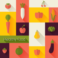 Healthy Food and Farm Fresh Concept. Flat style