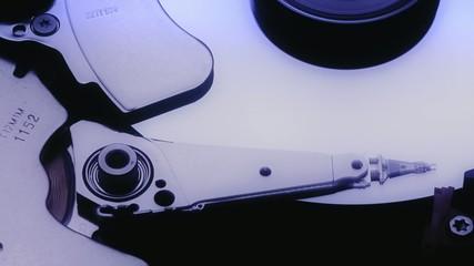 Closeup view of working hard disk drive,rotating.