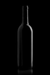 Elegant wine bottle in a black background