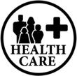 round health care icon with family