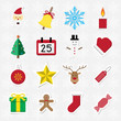 Christmas sticker icon set vector illustration