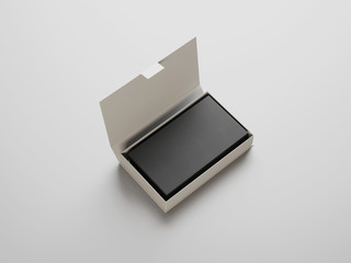 Black business cards in the white box