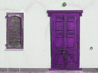 purple wooden door